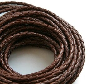 Brown Braided Bolo Leather Cord (5mm) 1m - 1yards S 40 015