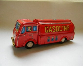 TRUCK, Vintage Friction Gasoline / Oil Delivery Tin Truck