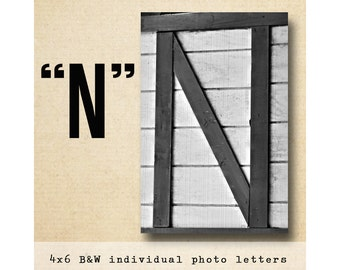 Letter N  Alphabet Photography  Black and White 4x6 Photo Letter UNFRAMED