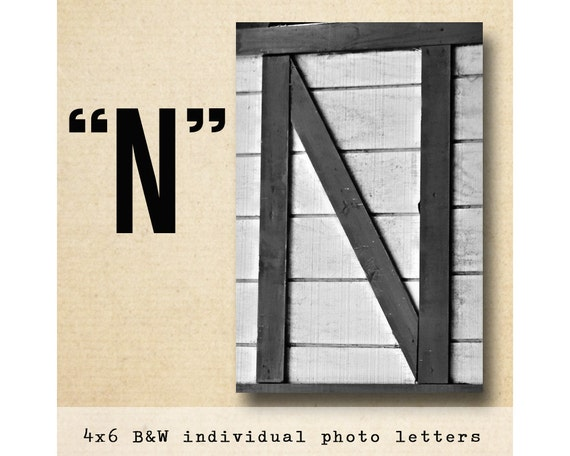 Letter N  Alphabet Photography  Black and White 4x6 Photo Letter UNFRAMED
