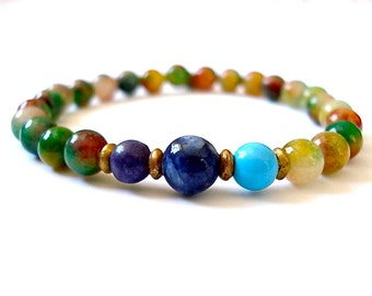 Chakra Bracelet, Rainbow Aventurine, Chakra Balance, Bracelet for Healing, Meditation, Yoga, Chakra Balance, Mala Bracelet, Yoga Jewelry