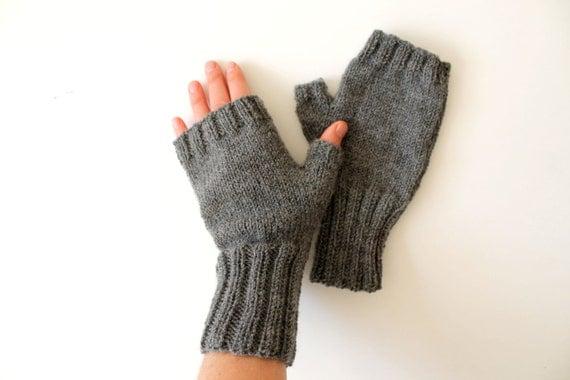 Dark Grey Kiniting Fingerless Gloves . Collection 2014 . Valentines day.