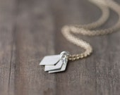 Silver & Gold Geometric Necklace / Minimalist Lightweight Everyday Necklace / Sterling Silver Gold Filled Jewelry