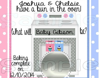 Gender Reveal scratch off cards Bun in the oven Baby Pregnancy announcement cards gender announcement cards Baby boy Baby girl  12 Printed