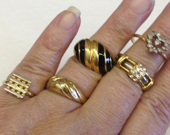 Antique Costume Rings Gold & Silver tone Rhinestone Vintage lot 552