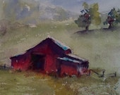 "landscape, barn, farm, horse, country art, red, green- Barnscape 8. Original Watercolor Painting (6"" x 6"")"