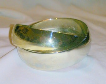 Vintage Silver and Gold Tone Interlinking Bangle Bracelet