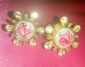 Vintage 1950's Pink Rose Guilloche Earrings