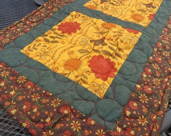 Autumn Flowers Quilted Table Runner, Floral Table Runner, Patchwork Table Runner