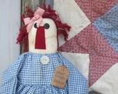 "Primitive Rag Doll ""Prim Cuzin Anna"" Blue Homespun"