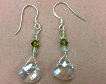 Swarovski Crystal Briolette Sterling Silver Earrings