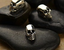 Mini Sterling Silver Skull Bead - Skull Head - 2 Hole Skull Bead, Bones and Skulls, Day of the Dead, Bone, Spiritual, Detailed Skull