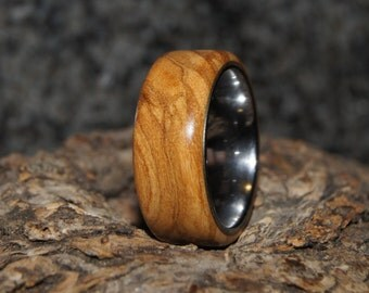 Size 7 - Olive wood and tungsten ring