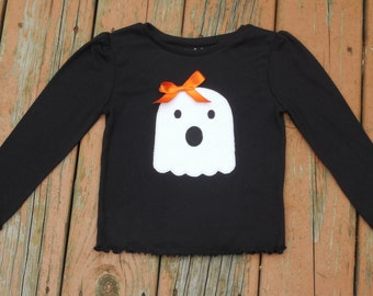 Girl's Toddlers Personalized Halloween Ghost Shirt