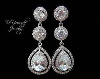 White Crystal Bridal Earrings Long Teardrop Bride Earrings Wedding Jewelry Cubic Zirconia Statement Wedding Earring Bridesmaid Gift Sterling