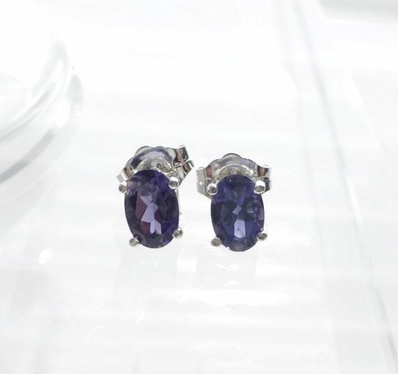 Violet Iolite Earrings, Natural Iolite Jewelry, Gemstone Stud Earrings, Fine Jewelry, 925 Sterling Silver