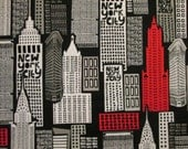 NYC New York City Building Red Black Cotton Fabric Fat Quarter or Custom Listing