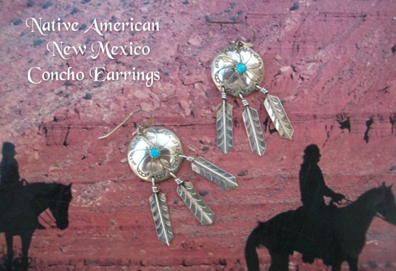 Native American Sterling Silver Concho Dangle Earrings - Vintage Navajo Turquoise Stone Feathers Flower Design Southwestern Jewelry