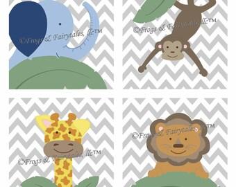 Safari Jungle Wall Art Set, Canvas Print Set