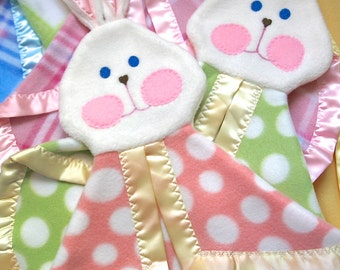 Fisher Price Puppet Bunny Blanket Replica in pink polka dots