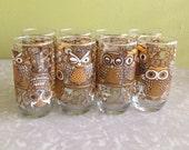 Vintage Owl Glassware - Set of 8 - 1970s wrap around owls design