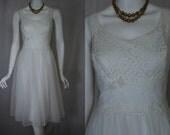 1950s White Waltz Nightgown, 34, Small, Medium, Shadowline Wedding