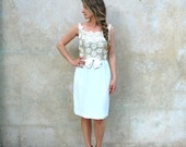 Early 60's ivory sequined wedding dress - 60s hourglass mod cocktail dress- small
