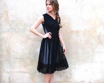 Vintage 1950's sheer black dress - 50s black cocktail / party dress - small