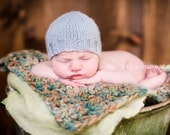 Newborn Baby Boy Hat, Handknit Pale Blue Knit Hat, Photo Prop
