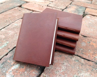 Groomsmen Gift Leather Pocket Notebook/Leather Journal Set of 5-  Hand Stitched, the Pascale
