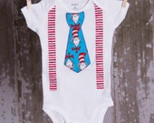 Dr. Seuss boy tie with suspenders shirt or bodysuit size newborn to 6 toddler