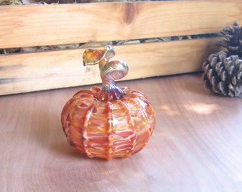 Blown Glass Pumpkin / Art Glass Sculpture / Autumn Home Decor Nature Peach Rust Brown thanksgiving mstarteam