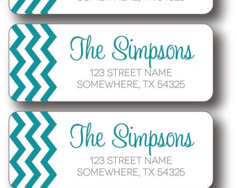 Return Address Labels - Turquoise Chevron