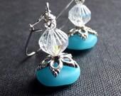 Ocean Blue Drop Earrings:  Blue Opal Sea Glass and Silver Sparkle Dangle Earrings, Beach Jewelry