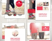 Christmas Card Templates: Snowball Fight - Set of Four 5x7 Holiday Card Templates for Photographers