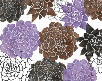 Succulent Clip Art Digital Scrapbook Download - Commercial Use Included - Purple, Brown Black