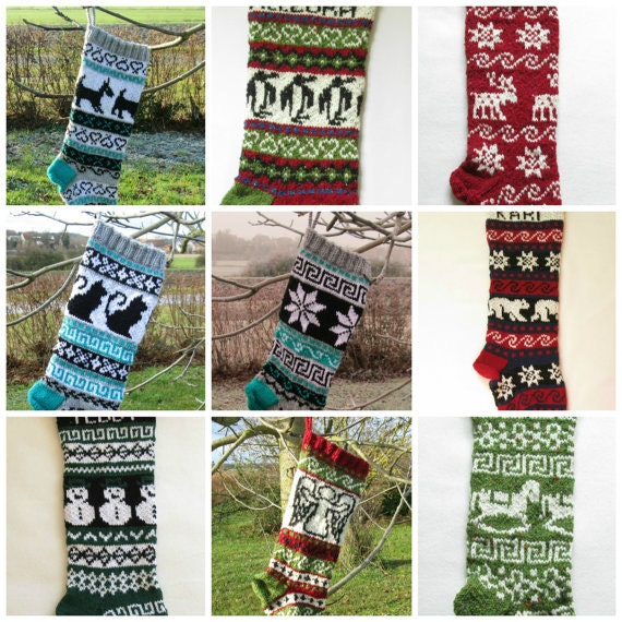 Personalized Christmas Stocking Knit Whale Fair Isle Handknit