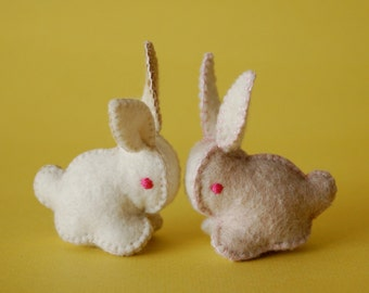 Twin Felted Bunnies Beige and White -- Hand Made in Canada Pure Merino Wool Handmade Felt