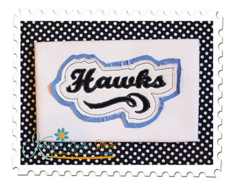 Hawks Distressed Applique