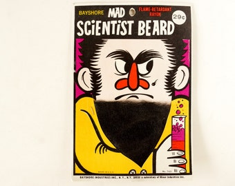 Vintage Halloween Mad Scientist Beard in Original Package by Bayshore (c.1970s) - Halloween Decor, Collectible Toy, Altered Art