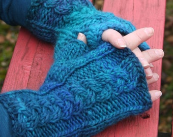 Plaited Cable Fingerless Mittens