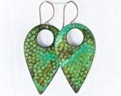 CLEARANCE!!! Hammered Teardrop Earrings in a Beautiful Green Patina - Patina Jewelry - Patina Earrings