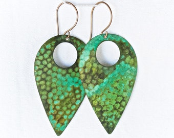 Hammered Teardrop Earrings in a Beautiful Green Patina - Patina Jewelry - Patina Earrings
