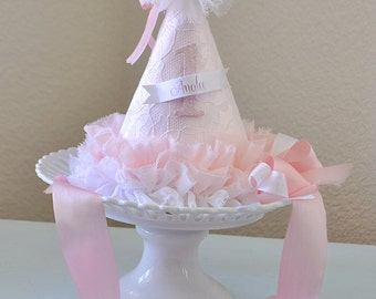 Girl's Pretty in Pink Birthday Hat, special occasion, photo prop