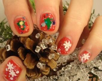 White Christmas Snowflake Glitter Indie Nail Polish Glow in the Dark Topcoat