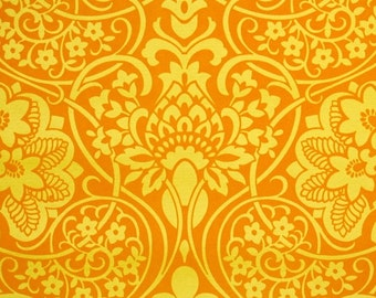 Retro Flock Wallpaper by the Yard 70s Vintage Flock Wallpaper - 1970s Orange and Yellow Damask Flock