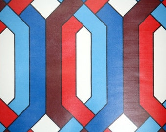 Vintage Wallpaper by the Yard 70s Retro Wallpaper - 1970s Red Blue and White Geometric
