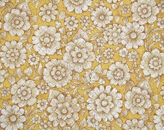 Retro Wallpaper by the Yard 70s Vintage Wallpaper - 1970s Brown and White Flowers on Golden Yellow