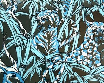 Retro Wallpaper by the Yard 70s Vintage Mylar Wallpaper - 1970s Aqua Blue and Metallic Silver Jungle Animals