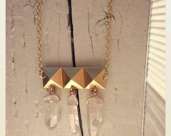 Rocka Flocka- Brass and Crystal Bling Necklace